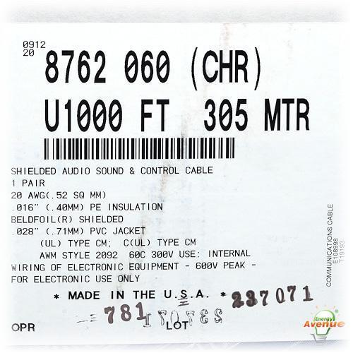 Belden 8762 060U1000 Chrome Color Multi-Conductor Shielded